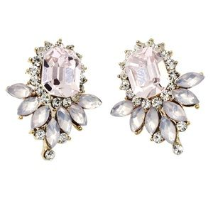 Elegant pink crystal golden earrings